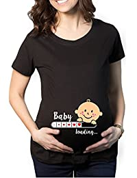 YaYa Cafe Mothers Day Cute Funny Baby Loading Women's Pregnancy Maternity T-shirt Top Tee Round Neck Half Sleeves