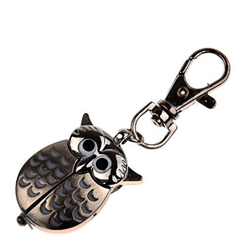 TOOGOO(R) Reloj de bolsillo de buho con llavero 40 x 25 mm Plata