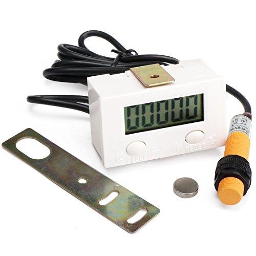 Geree LCD Digital Handzähler 0-99999 Digit Vorwärts Digital Panel Gauge 5 Ziffern stoßfest elektronisch Punch Zähler Tester totalizer mit magnetischer Induktion Schalter, LCD Display