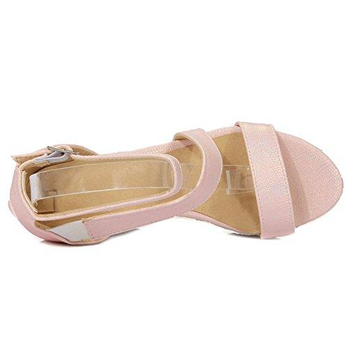 TAOFFEN Damen Gem¨¹tlich Keilabsatz Sandalen Fesselriemen Schnalle Shoes Pink