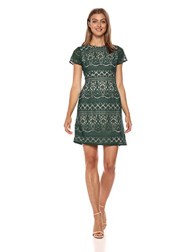 Adrianna Papell Damen Scalloped Striped LACE A-LINE Dress Freizeitkleidung, Hunter/Bisque, 38 Scalloped Lace Dress