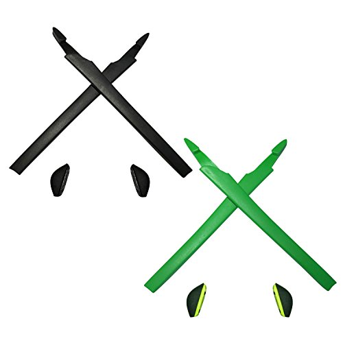 HKUCO Black Green Replacement Silicone Leg Set For Oakley Crosslink  Sunglasses Earsocks Rubber Kit 8158309349f4