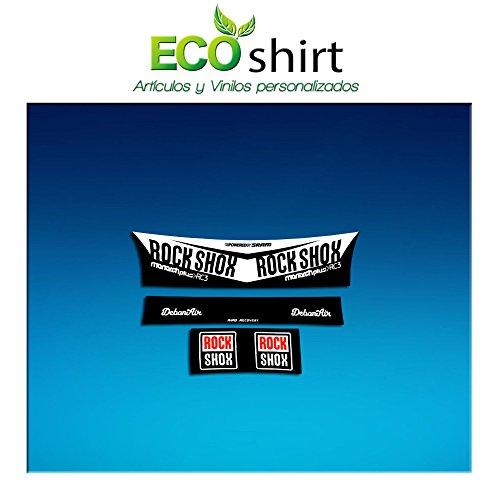 Ecoshirt 46-BRIL-QGVZ Pegatina Sticker Shock Rock Shox Monarch Plus Rc3 Am203 Aufkleber Decals Autocollants Amortiguador MTB Downhill, Blanco