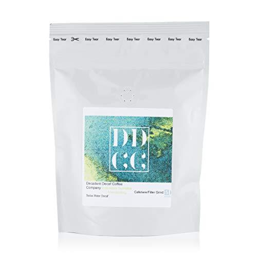 Koffeinfreier Kaffee Sumatra Mandheling aus Indonesien, mittels Schweizer-Wasser-Prozess entkoffeiniert, Decadent Decaf Coffee Company, gemahlen für Cafetière-Filterkaffee, 227g