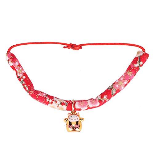 Bicaquu Japanischen Stil einstellbar Haustier Halskette Zubehör Kätzchen Versorgung Katze Glockenkragen(rot) -