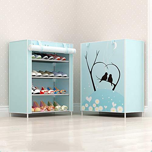 Qinqin666 Adjustable Shoe Storage Shoe Rack Organiser Shoe Space Saving, Easy Assemble Blue 4th Floor