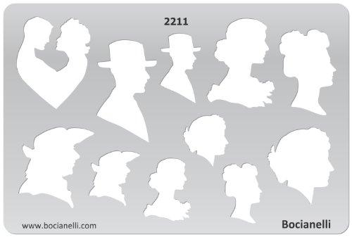 15cm x 10cm Zeichenschablone aus Transparentem Kunststoff für Grafik Design Kunst Handwerk Technisches Zeichnen Schmuckherstellung Schmuck Machen - männlich weibliches Gesicht Gesichtsprofil Kopf