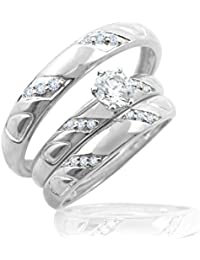 Silver Dew 925 Pure Silver Valentine`s Day Diamond Couples Trio Ring For Men's One Ring & Women's Two Ring Wedding...