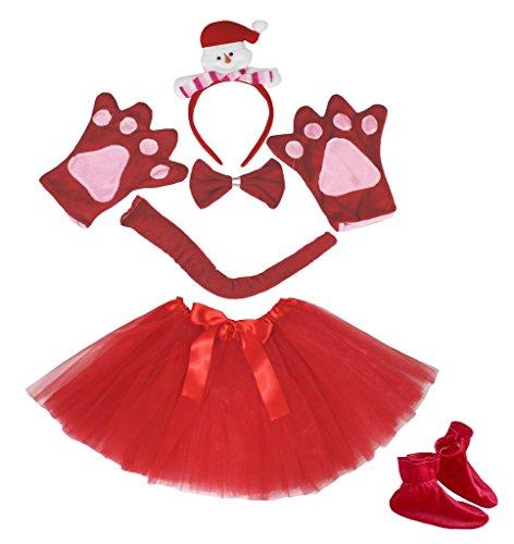 Petitebelle Snowman Headband Bowtie Tail Glove Shoes Tutu 6pc Costume for Girl (One Size) (Schneemann Kostüm Tutu)