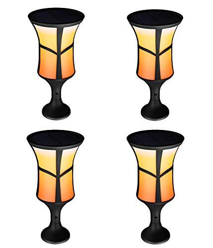 LNLJ Solar-Taschenlampe 96LED 3 Beleuchtungsmodus und 3 Montagestil wasserdichte dekorative Außenbeleuchtung Schaltet Sich von Dämmerung bis Morgendämmerung automatisch EIN/aus,4pack