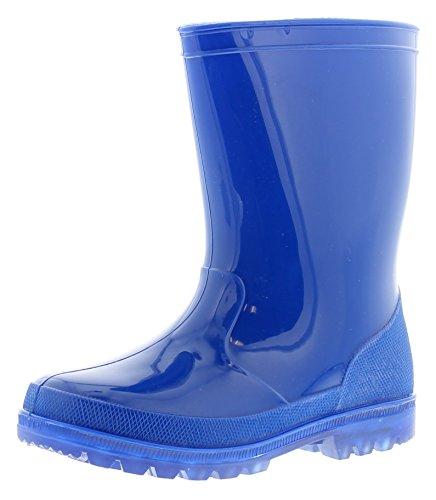 NEU Ältere Jungen/Kinder blau PVC Gummistiefel mit blinkend Lichter - blau - UK Größen 1-13 - Blau, 33