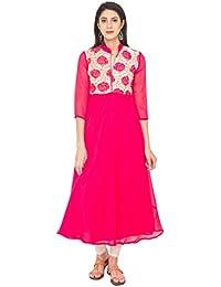 Zoeyams Women's Pink Georgette Embroidery Prints Long Straight Kurti