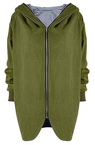 Blansdi Femme Manteau Veste casual Jacket femme manteau/blouson/veste Automne Hiver Grande Taille à Capuche Manches longues Chaud Zipper Cardigan Blouson