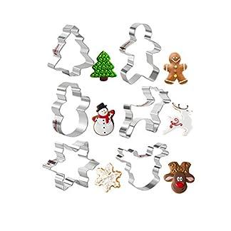 KAISHANE Cortadores de Galletas Navidad de Acero Inoxidable para Galletas de Navidad, Juego de 6 moldes para Galletas, Copo de Nieve, árbol de Navidad, Santa Cara, Reno, Manoplas y bastón de Caramelo