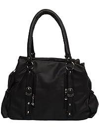 Milante Women's Stylish Black PU Hand Bag (5G-black_M)