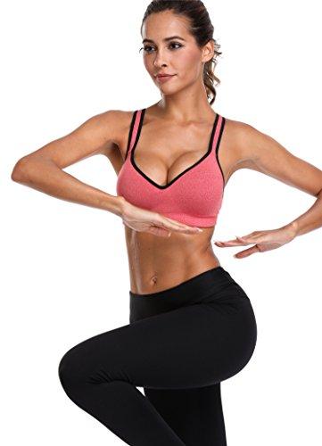 Attraco Damen Sports BH Leichter Halt Vorgeformte Körbchen Überkreuzte Träger Yoga BH *Orange