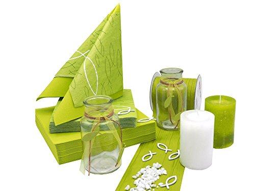 ZauberDeko Tischdeko Kommunion Konfirmation Grün Kiwi Weiß Fisch Vasen Set 20 Personen