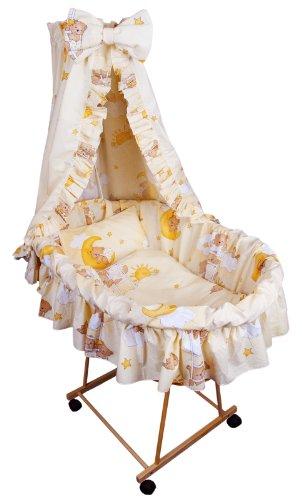 9tlg Textile Ausstattung für STUBENWAGEN Bollerwagen Himmel Matratze Baby Bettwäsche Teddy auf der Leiter Ecru