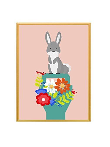 Kunstdruck - Illustration - Häschen auf dem Blumenkorb - A4 Größe …