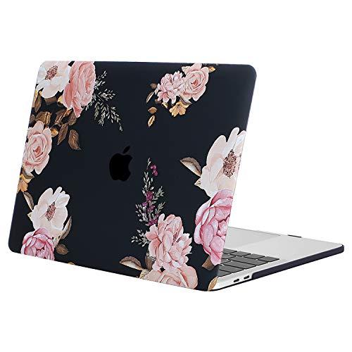 MOSISO Hülle Kompatibel MacBook Pro 13 2019 2018 2017 2016 Freisetzung A2159/A1989/A1706/A1708 - Plastik Muster Hülle Kompatibel Neu MacBook Pro 13 Zoll, Pfingstrose auf Transparente Schwarze Basis