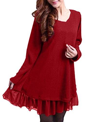 ZANZEA Damen Stricken Chiffon Lace Langarm Jumper Mini Kleid Pullover (EU 36 / US 4, Rot) (Mini-chiffon-cocktail-kleid)