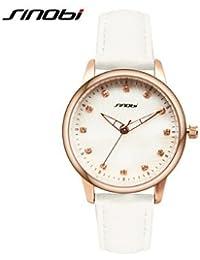 Relojes Hermosos, Mujer Reloj de Moda Cuarzo Resistente al Agua Piel Banda Blanco Marca- SINOBI ( Color : Blanco , Género : Para Mujer )
