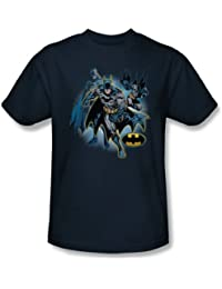 Justice League - Batman Collage Adult T-Shirt In Navy