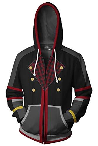 Hearts Organisation Kingdom Kostüm Mantel 13 - Sora Kingdom Hearts Mantel Zip-Up Hoodie mit Kapuze Schwarz L