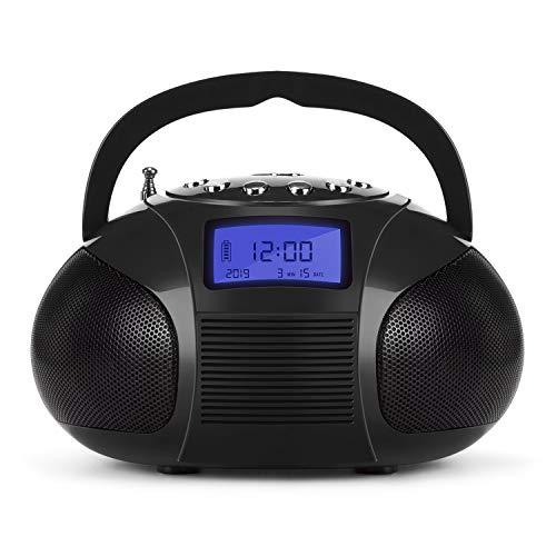 August SE20-Tragbarer Wecker Radio mit Bluetooth Lautsprecher-Mini MP3Stereo System mit Kartenleser/USB und AUX In/2x 3W Stereo Lautsprecher/Akku