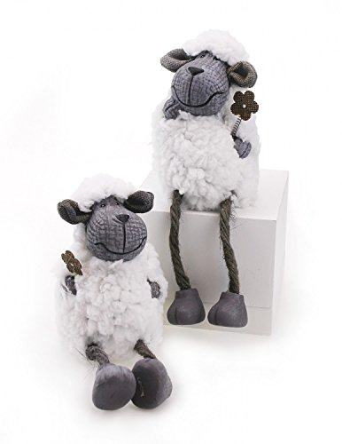 2 x Lambs stool edges figure Sheep sheep in Play 11,5 / 19 cm gray clay with white faux fur, Sheep Lamb WOLL stuffed sheep (with legs