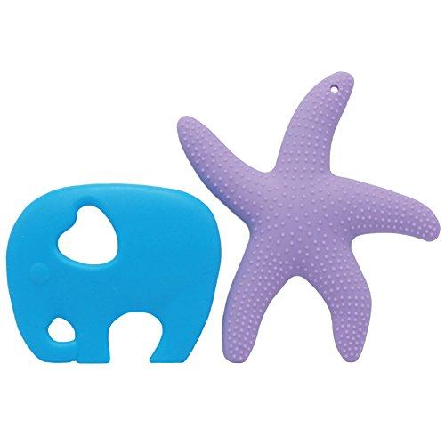 Ailams Baby-Dentitionspielzeug, BPA-frei FDA zugelassene Lebensmittelqualität Silikon, Kleinkinder Seestern Beißring Ring (blaue Elefant und lila Seesterne)
