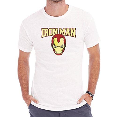 Marvel Iron Man Mask College Tee Herren T-Shirt Weiß