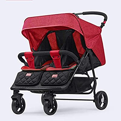 Baby car Doble Cochecito de Cochecito de Lado a Lado Cochecito Doble, combinable con Acolchado 2 en 1 Plegado fácil