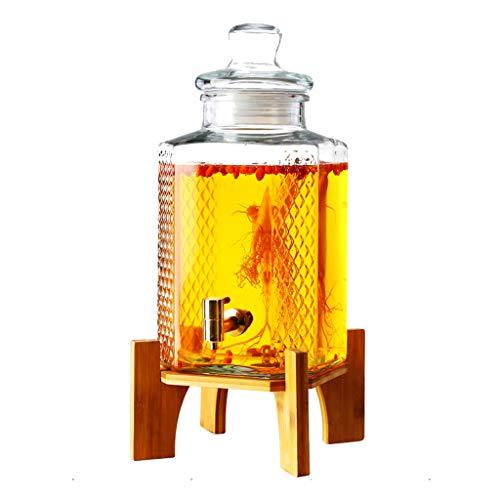 Coco Thicked Glass Beverage Dispenser - Muster zum Schnitzen von Bier/Rotwein-Versiegelungsspender - mit reinem Metallisolationshahn + Pure Wood Bracket -