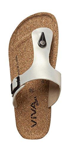 Damen Sandalen Zehentrenner Sandaletten in Lackoptik Metallic weiß Weiß