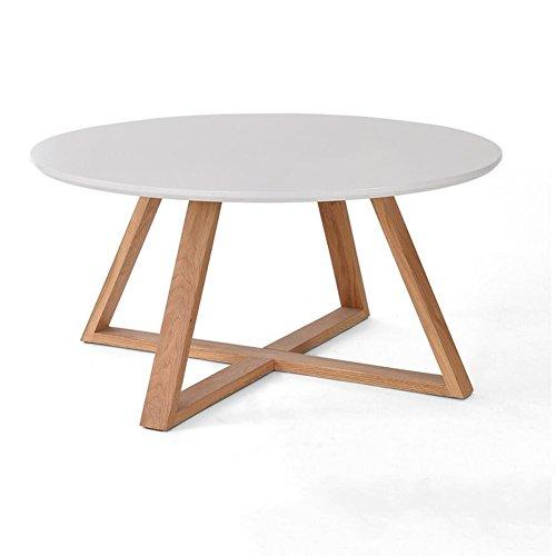 Verstellbarer Runder Café Tisch (Honey Kleiner Tisch Massivholzrahmen Runde Kleines Wohnzimmer Kaffeetisch Teetisch Durchmesser 80cm, Höhe 39cm (Farbe : Weiß))
