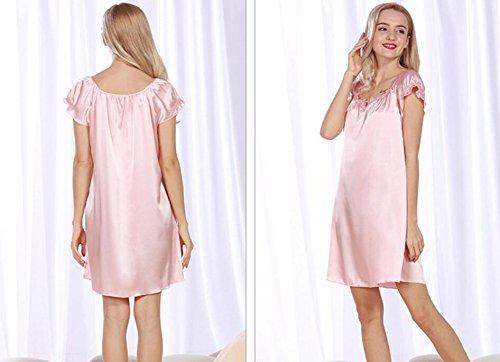 ZC&J Neue beiläufige Simulation Seide Kurzhülse Schläfer Kleid Sommerdamen Sommer große bequeme Pyjamas,Camel,one size pale pinkish gray