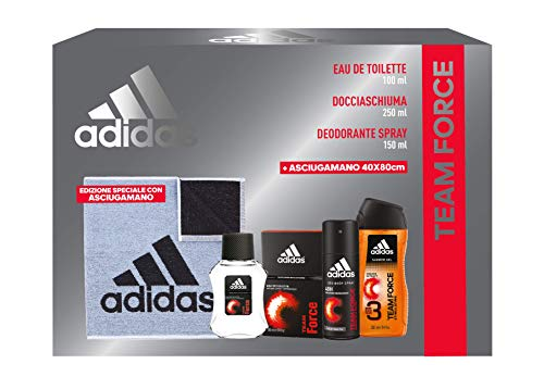Adidas Confezione Regalo Uomo Team Force Eau de Toilette 100 ml Gel Doccia Bagnoschiuma 250 ml Deodorante Spray 150 ml Asciugamano Palestra