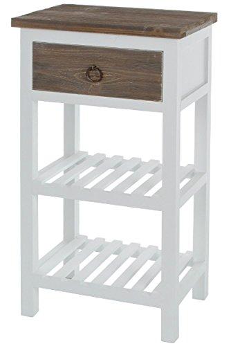 elbmöbel Telefontisch Couchtisch Beistelltisch Nachttisch mit 1 Schublade 2 Ablagefächern weiß braun aus Holz im shabby chic vintage antik Landhaus Stil – B40 x H75 x T28 cm
