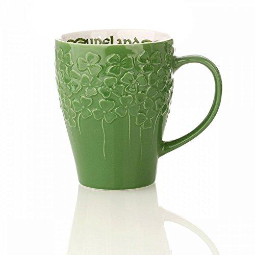 Eburya Irisch Shamrock Mug - Kaffeebecher mit irischen Kleeblättern - Dunkelgrün