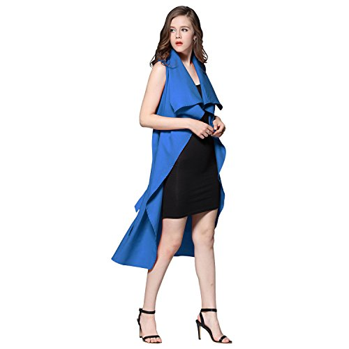 Homedecoam Damen Weste Wasserfall Ärmellos Vorne Offen Asymmetrisch Lang Waistcoat Blau