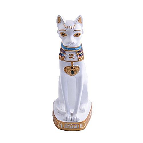 Decoraciones: 1. Hecho de resina de alta calidad, el adorno de diosa es duradero y sin decoloración. Este gato egipcio de Bastet es fuerte y sin miedo. El gato representa la magia, el valor y la confianza en sí mismo, y puede fomentar la agilidad ...