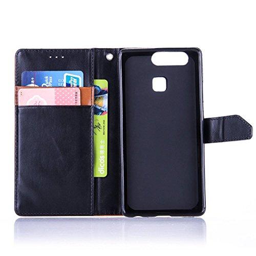 Coque pour Apple iPhone 5 5S,Housse en cuir pour Apple iPhone 5 5S,Ecoway Colorful imprimé étui en cuir PU Cuir Flip Magnétique Portefeuille Etui Housse de Protection Coque Étui Case Cover avec Stand  Marron-Noir