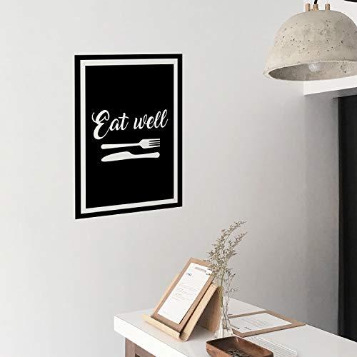 Vinyl-Wandaufkleber - Eat Well - 76,2 x 53,3 cm - Moderne, kursive Schriftzug-Gabel, Messer, Esszimmer, Küche, Haushalt - Positive Aufkleber für Zuhause, Arbeitsplatz, Café, Restaurant
