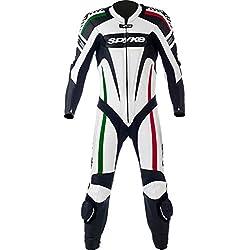 mono de piel para moto hombres ,Spyke Kaver Race (48, Blanco/Negro/verde/rojo)