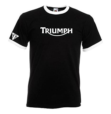 Juko Triumph Ringer T Shirt Motorcycle Motorbike 1335 Retro Top Black, XX-Large