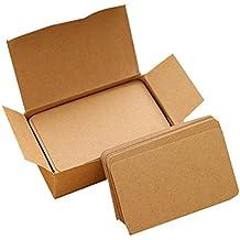 Tarjetas para escribir mensajes, de la marca LAAT, gruesas, de papel Kraft, para que lo hagas tu mismo, papel de tarjeta, hojas en blanco, tarjeta para anuncios, pequeño cuaderno para tarjetas, 100 hojas de 9,5 x 5,5 cm, marrón, 9*5.5