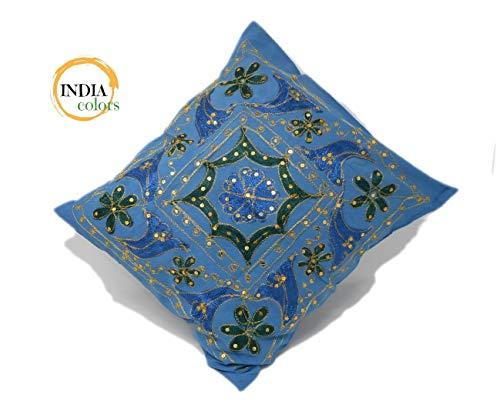 India colors. Cojín Funda Bordado Artesanal Hecho a Mano en India. (Azul)