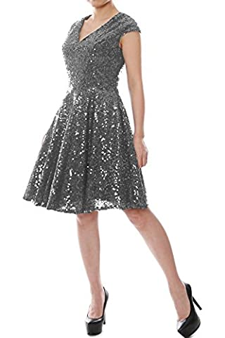 MACloth Women Cap Sleeve V Neck Sequin Short Bridesmaid Dress Formal Party Gown (52, Gray)