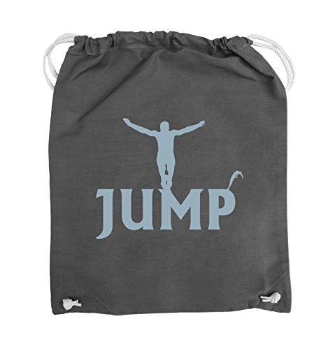 Comedy Bags - JUMP - FIGUR - Turnbeutel - 37x46cm - Farbe: Schwarz / Silber Dunkelgrau / Eisblau
